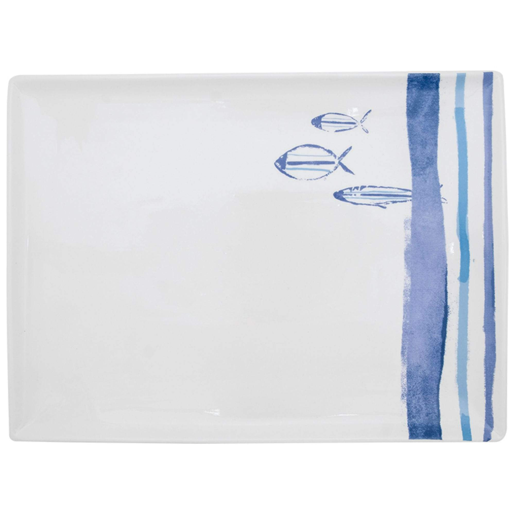 Batela Giftware-Tableware-Marine Striped Serving Plate (Set of 2)