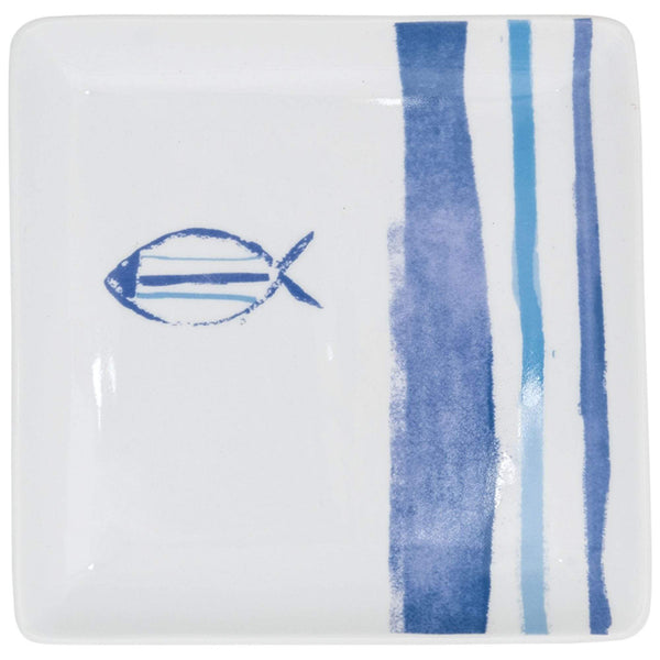 Batela Giftware-Tableware-Marine Striped Square Plates (Set of 3)