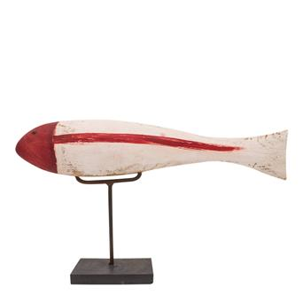 Wooden Fish on a Stand - Red/White