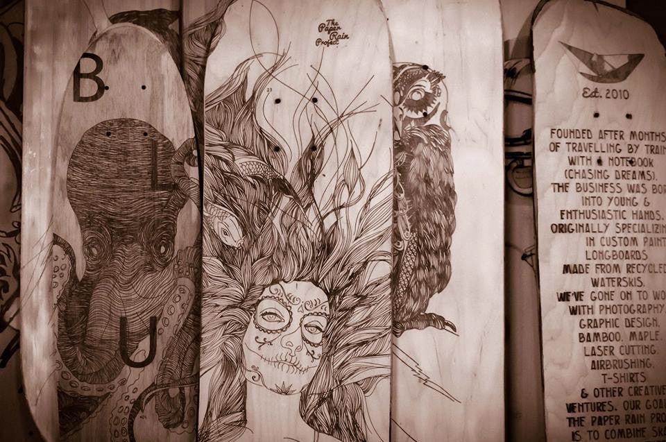 Laser etched, art, longboards, skateboards, octopus, maple, bamboo, The Paper Rain Project, New Zealand