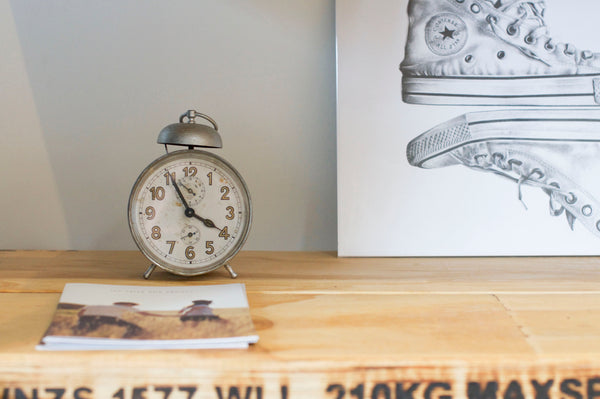 Our fit out - foraged second hand store Clock with the 'Sole Mates' print by Hannah Starnes.