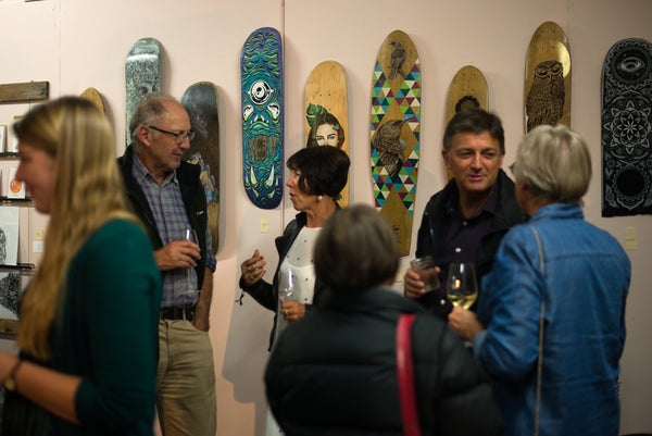 Kickstarter Launch Party, The Paper Rain Project (Recycled wine-barrel longboards)