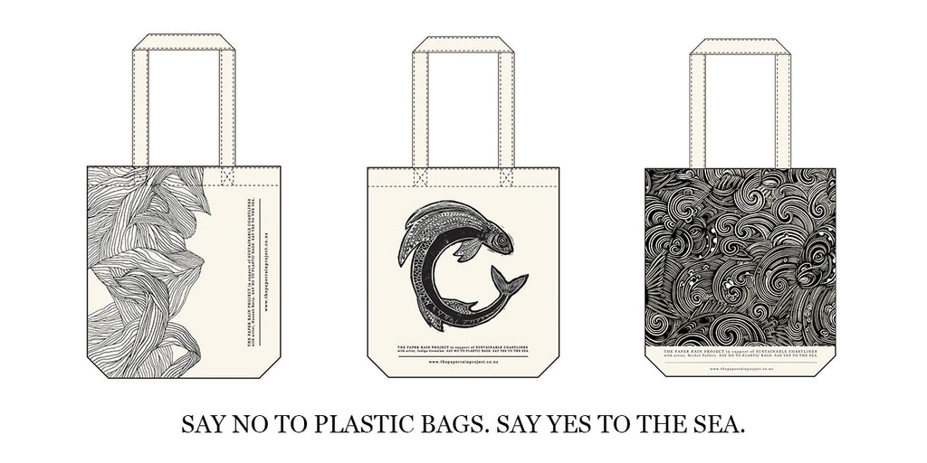 The Paper Rain Project and Sustainable Coastlines hemp tote bags