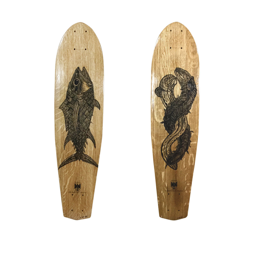 Michel Tuffery, The Paper Rain Project, Longboard, Skateboard, Art, Wood, Etched