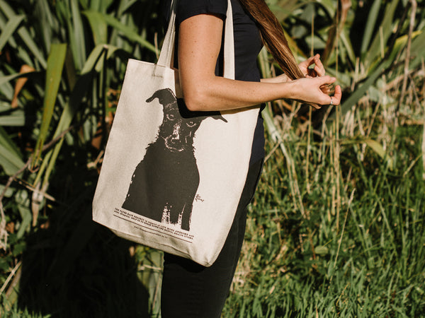 Black Dog Hemp tote bag in support of Live More Awesome