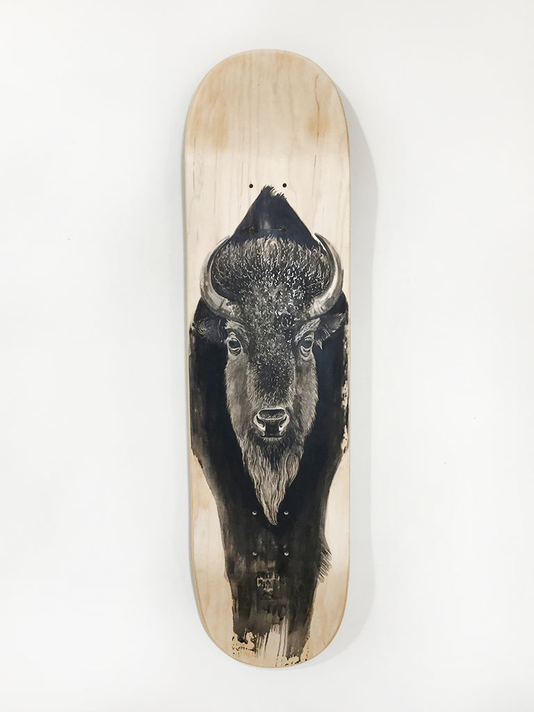 Bison hand painted skateboard by artist Ellaquaint
