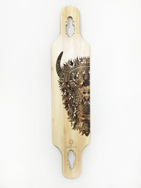 'Zentangle' Laser-etched Bison skateboard in collaboration with Tobias Illustrations