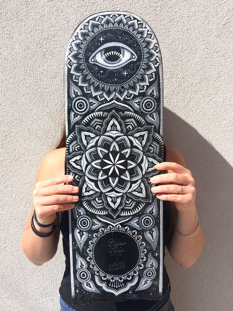 Black Hole. No 2 by Sneaky Studios hand painted up-cycled skateboard