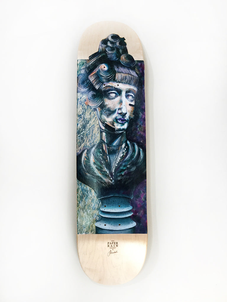 Crown me cybernetic hand painted acrylic on skateboard by Jacqueline Macleod
