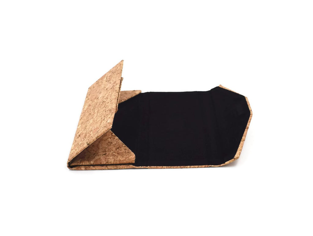 Foldable cork glasses case for Duskies sunglasses in folded out open position