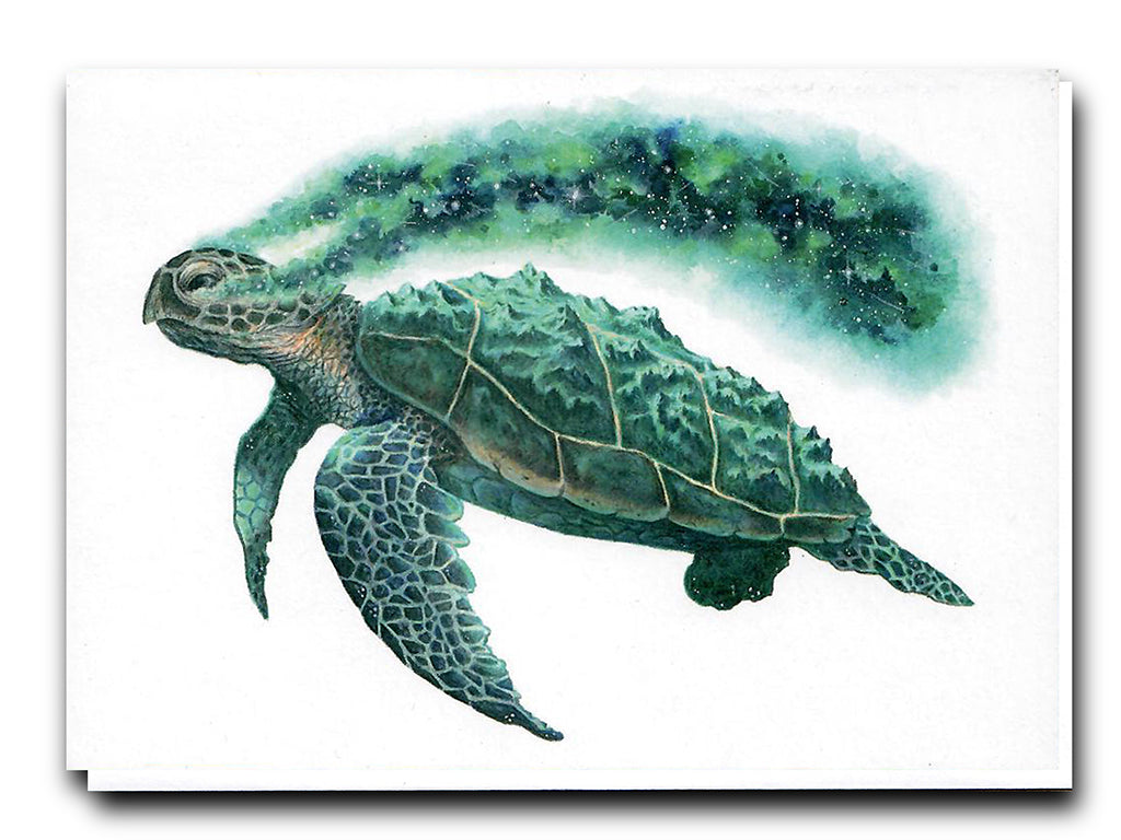 Illustrate Greeting Cards Cosmic Turtle by David Art