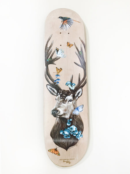 Haven hand painted skateboard by artist Emmaline Bailey