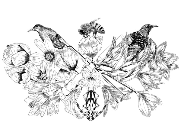 Flora design by Faunesque for The Paper Rain Project and supporting The Wildlife Hospital, Dunedin