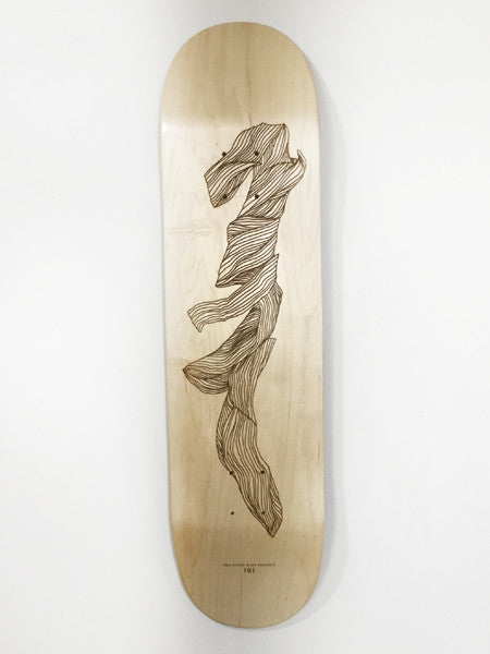 f1 laser etched skateboard in collaboration with Hannah Batty