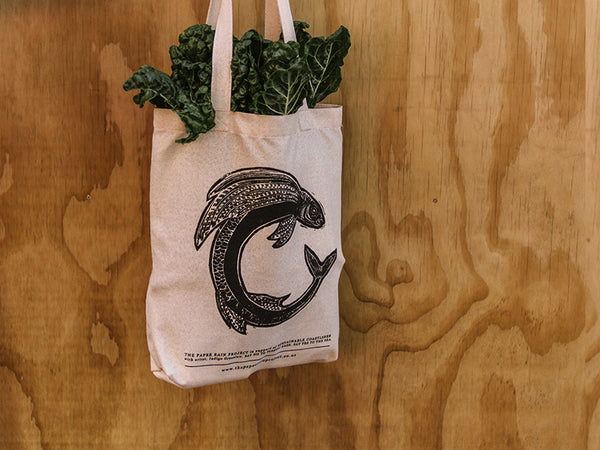 Flying Fish Hemp Tote Bag in support of Sustainable Coastlines