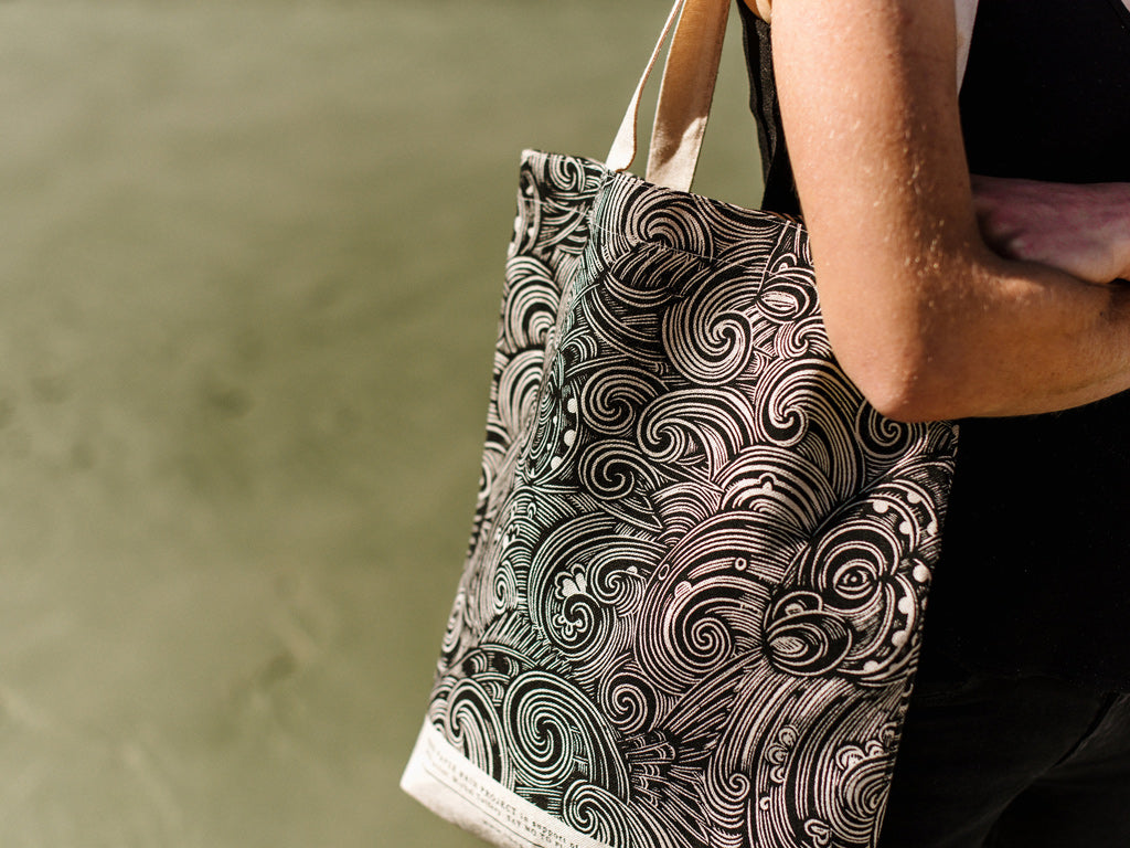 Snapper Waves hemp tote bag in support of Sustainable Coastlines