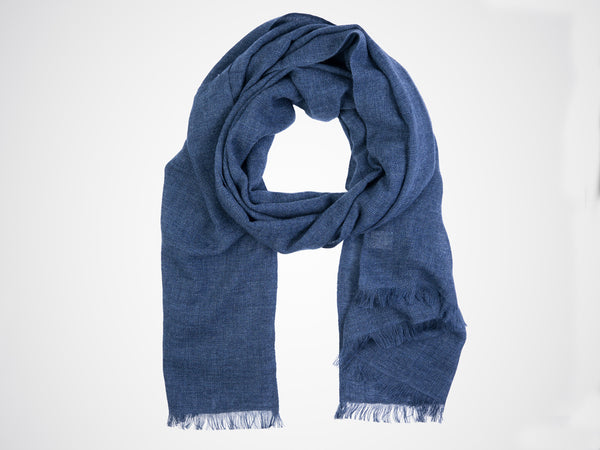 Dinadi, fine merino scarf in midnight blue
