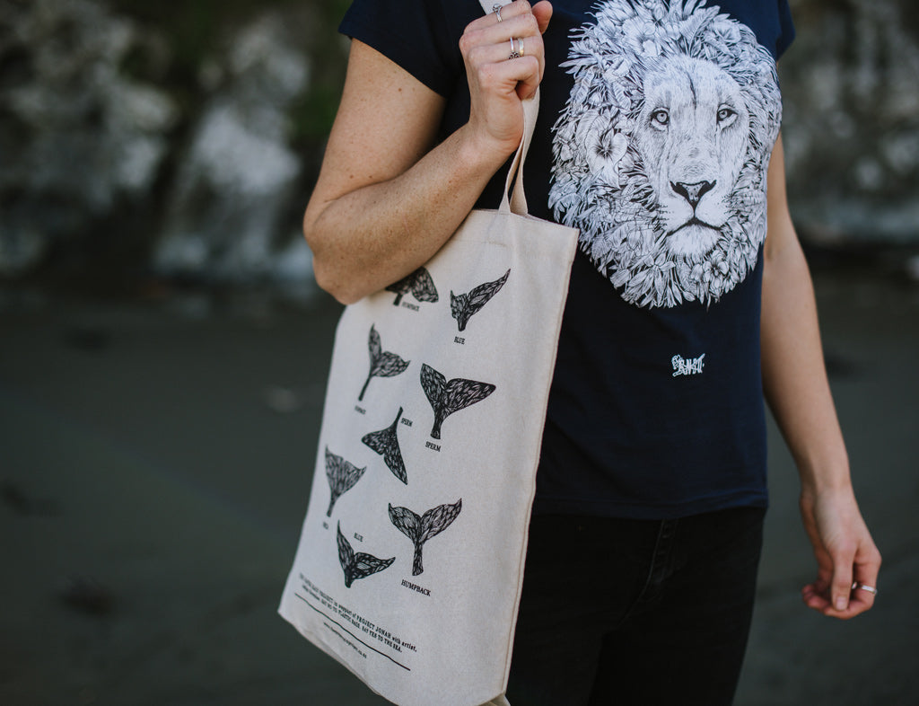 Whale Tail hemp tote bag, designed by Paper Rain co-founder Indigo Greenlaw in support of Project Jonah.