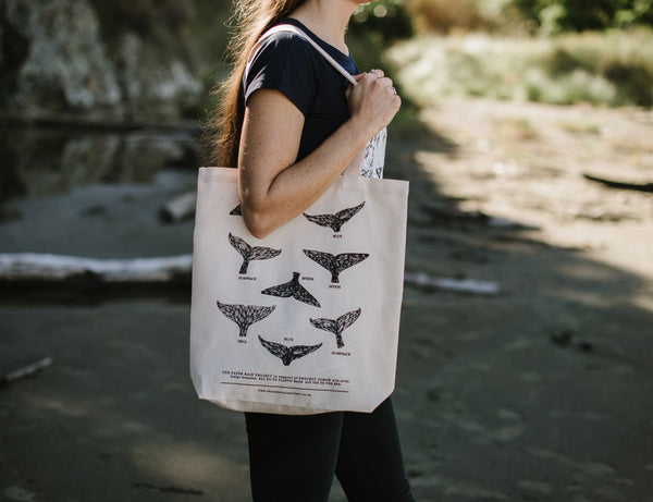 Whale Tail - Hemp Tote Bag in support of Project Jonah