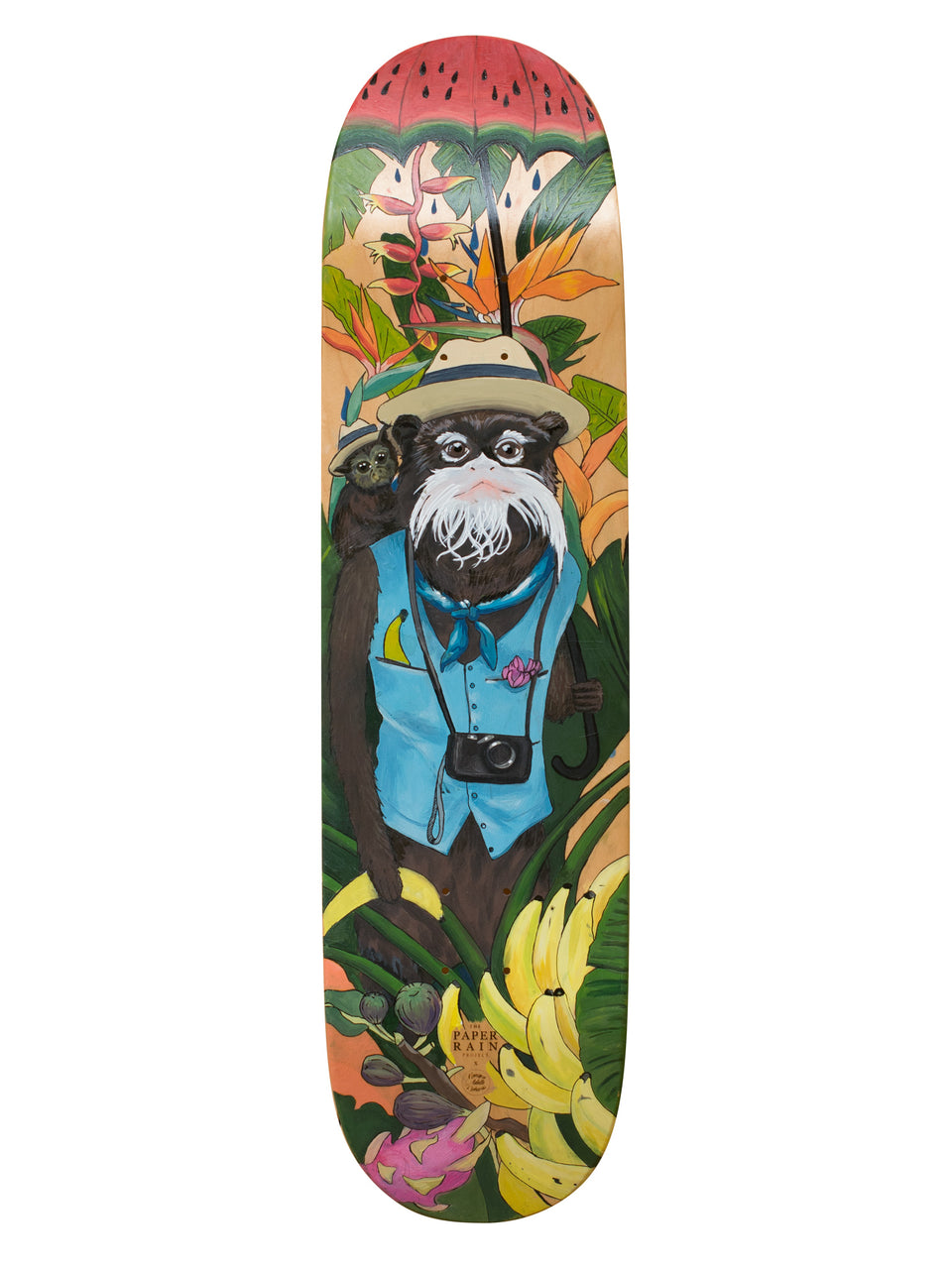 'Is that a banana in your pocket?' hand painted by Monique Richards on maple skateboard.