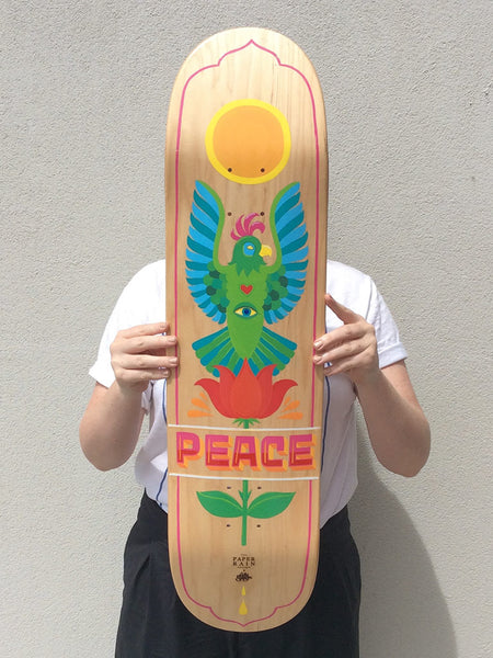 PEACE hand painted skate board by Kelly spencer