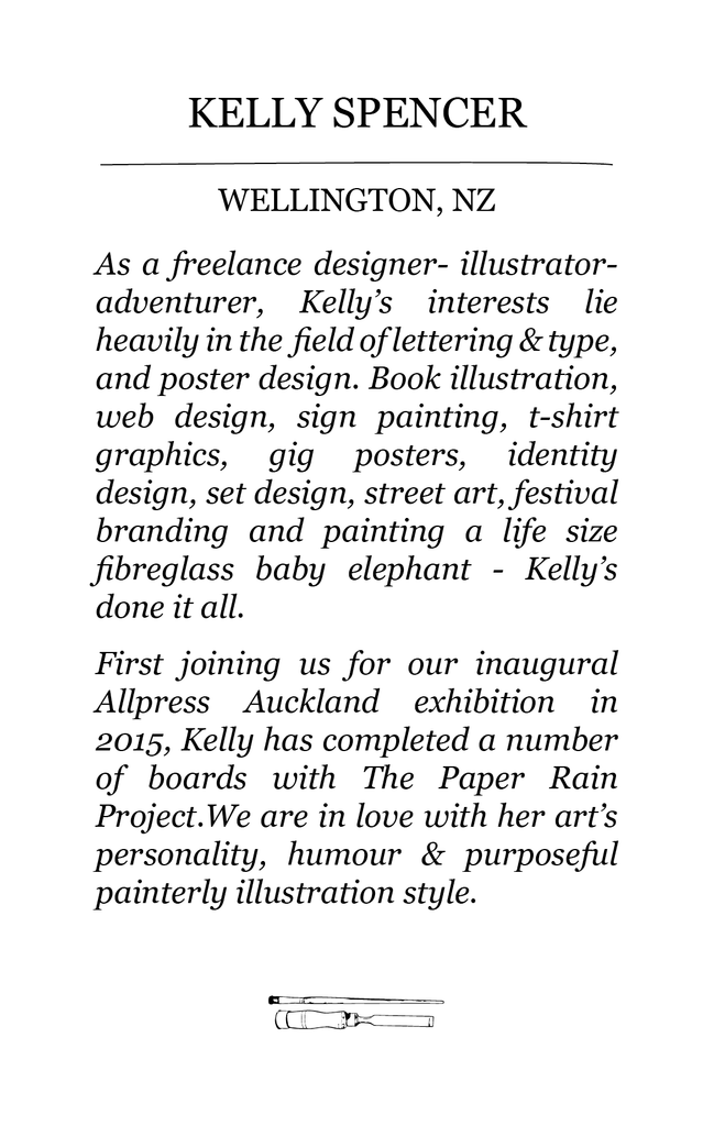 The Paper Rain Project guest artist bio of Kelly Spencer