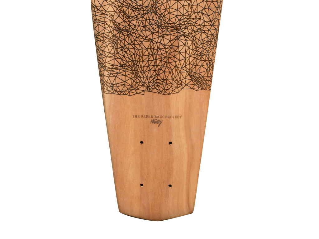 Lower half of 'Kete' designed by Hannah Batty, laser etched onto sustainably sourced macrocarpa art board hand-crafted by The Paper Rain Project.