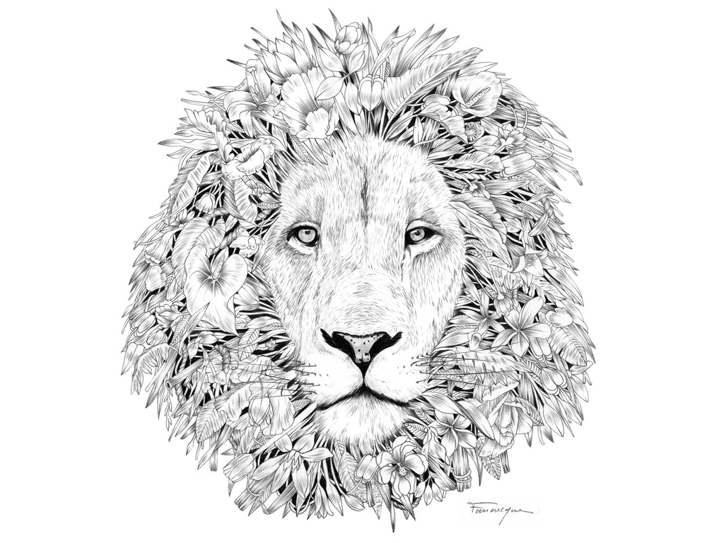Lion image designed by artist Faunesque for The Paper Rain Project fair trade, organic t-shirts.