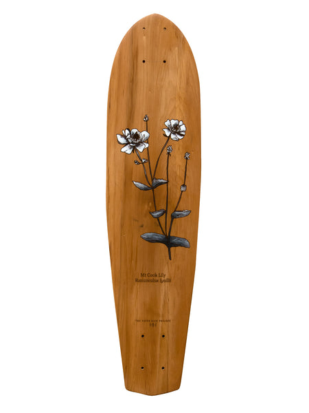 'Mt. Cook Lily' hand-painted by HH (Hannah Heslop) onto a laser etched recycled rimu board handcrafted by The Paper Rain Project.