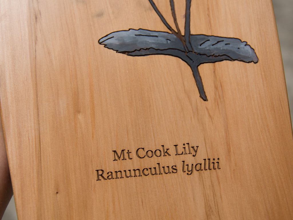 Close up of lower half of 'Mt. Cook Lily' hand-painted by HH (Hannah Heslop) onto a laser etched recycled rimu board handcrafted by The Paper Rain Project.