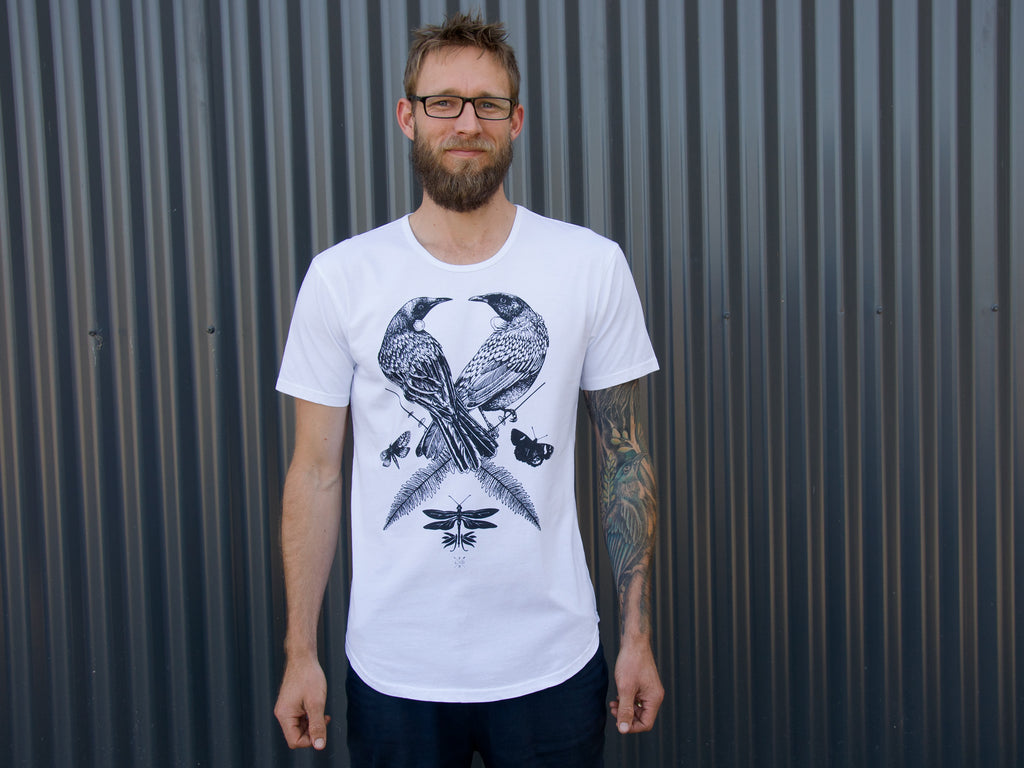 The Paper Rain Project's men's Two Tui T-shirt. Designed by FLox and supporting The Wildlife Hospital, Dunedin. Fair trade and organic t-shirts in white.