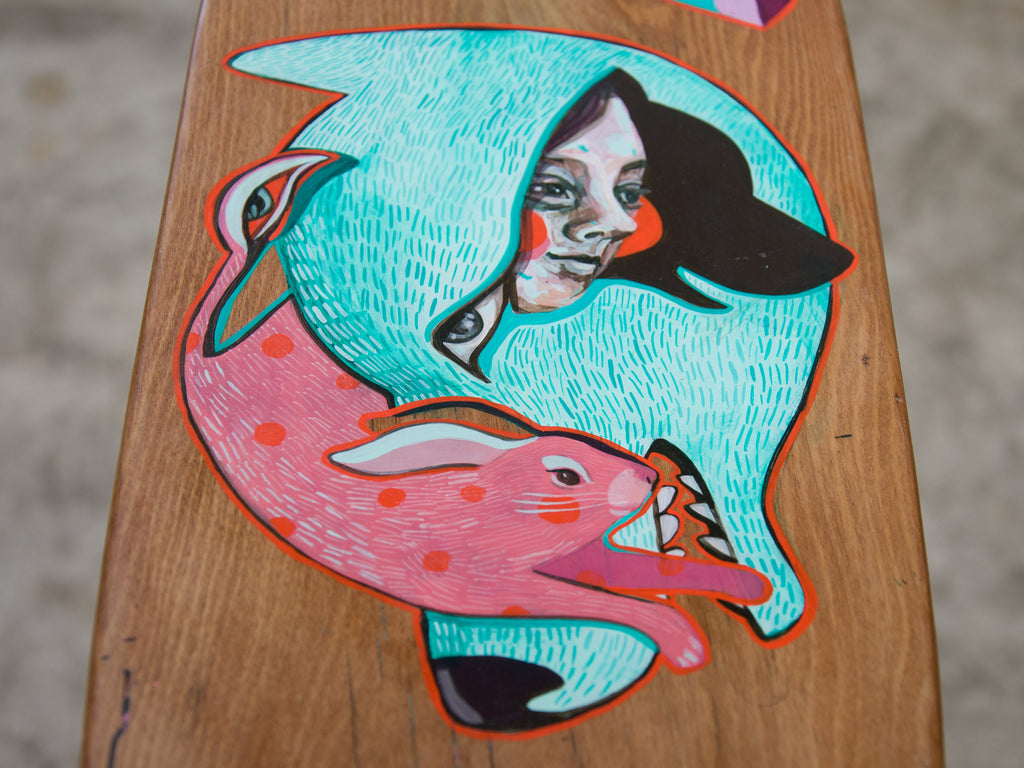 'Chasing Dreams' handpainted by Mica Still on a recycled rimu board handcrafted by The Paper Rain Project.