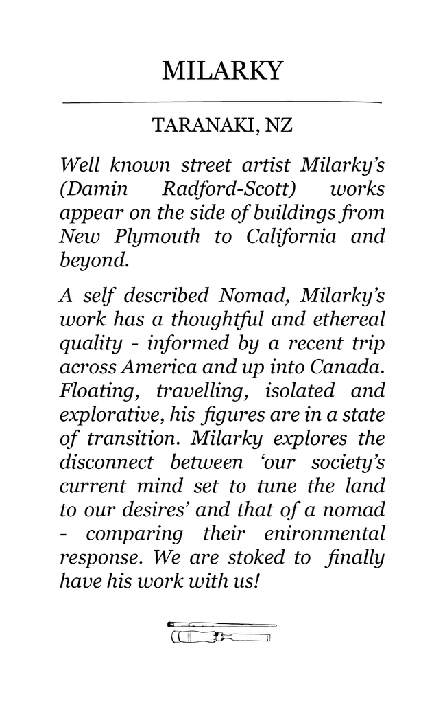 Milarky guest artist bio for The Paper Rain Project