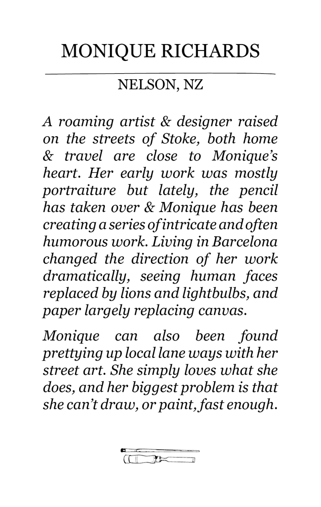 The Paper Rain Project guest artist bio of Monique Richards.