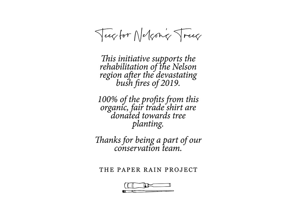 Description of the Tees for Nelson's Trees campaign - raising money for revegetation of Nelson's forests by The Paper Rain Project.