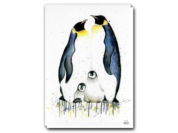 Illustrate Greeting Cards Penguin Family by Colors of the Wild