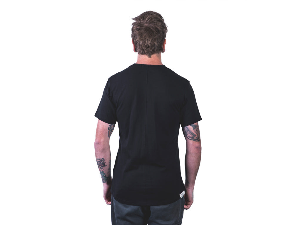 Back of men's black tailor t-shirt by The Paper Rain Project.