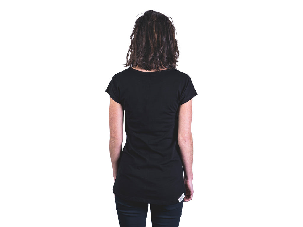 Back view of women's black tailor t-shirt by The Paper Rain Project.