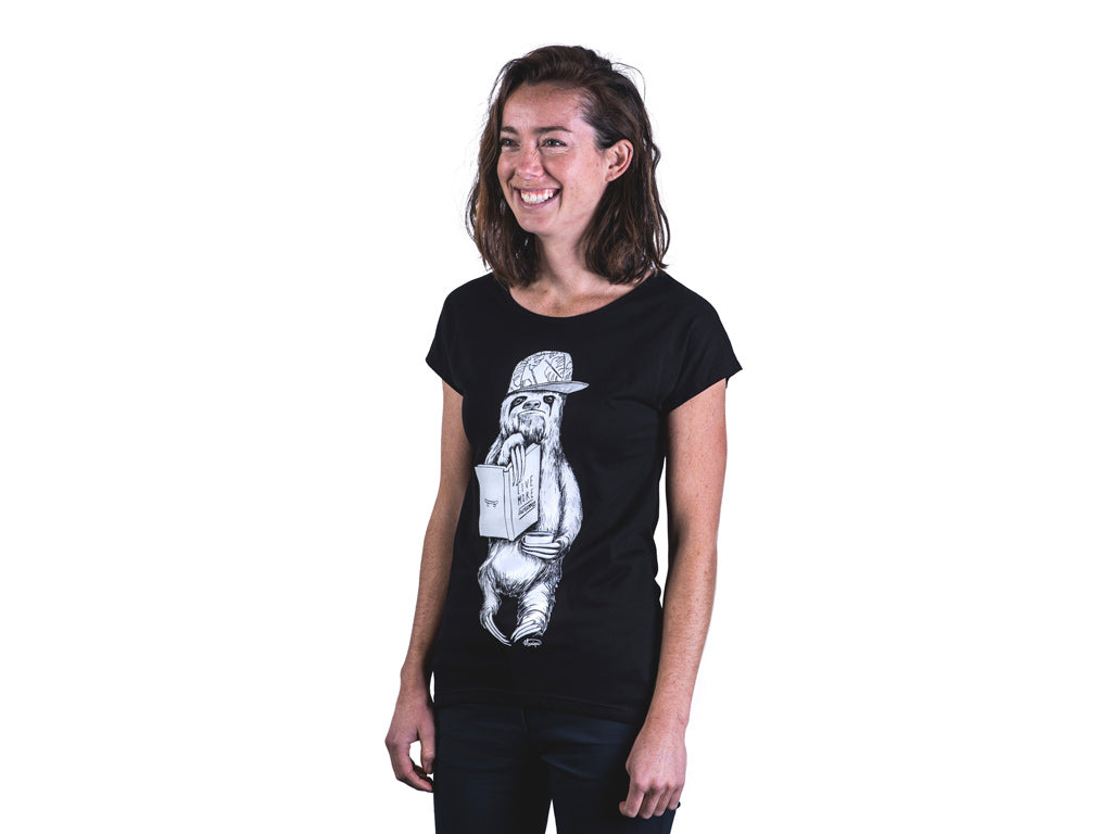 The Paper Rain Project's women's Sloth t-shirt, designed by Monique Richards, in support of Live More Awesome.