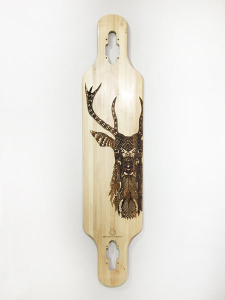 'Zentangle' laser-etched stag on bamboo maple longboard in collaboration with Tobias Illustrations