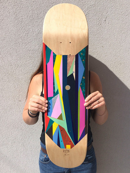 'Sucker Punch' hand-painted by Jacqueline Macleod acrylic on maple skateboard.