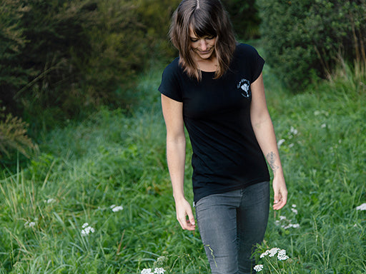 Women's black Tees for Nelson's Trees T-shirt by The Paper Rain Project. Raising money for the revegetation of Nelson's forests after devastating forest fires.