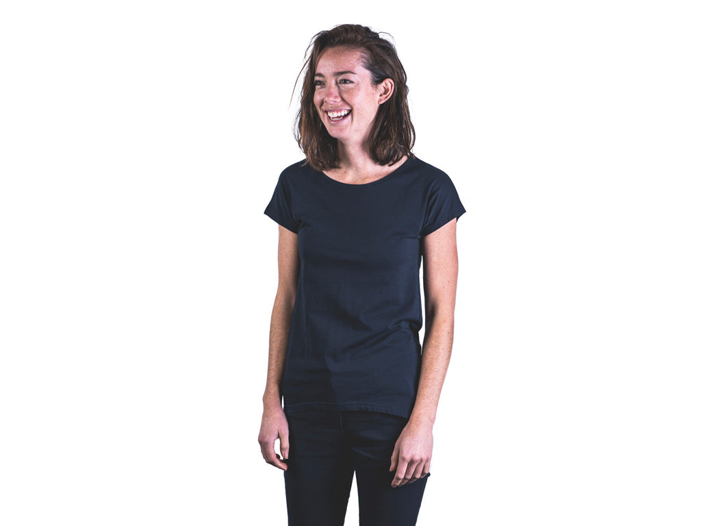 Women's fair trade, organic t-shirt by The Paper Rain Project in navy.