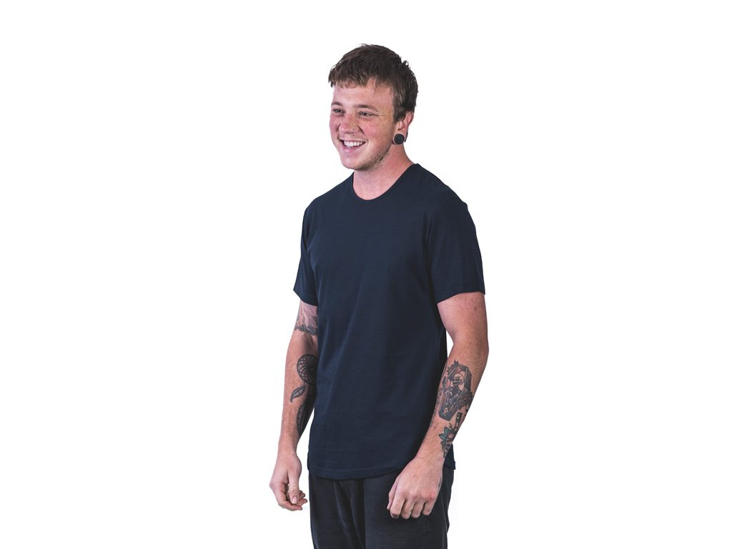 Men's navy tailor t-shirt by The Paper Rain Project. Fair trade, organic and good.