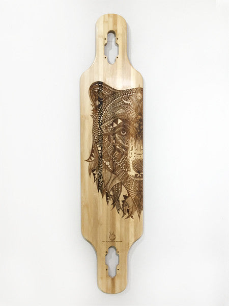 'Zentangle' laser-etched Bear on skateboard in collaboration with Tobias Illustrations from Bristol UK