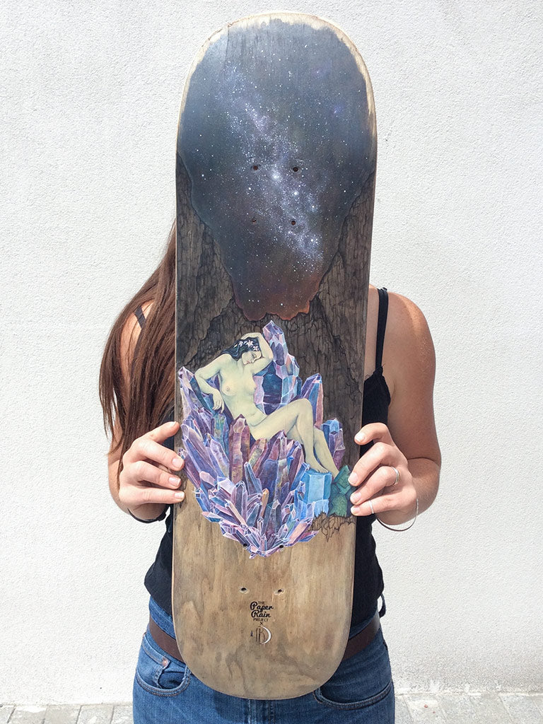 Arohanui hand painted on up-cycled skate board by Tukana Dalton