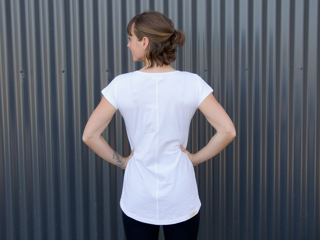Back of women's white fair trade, organic tailor T-shirt by The Paper Rain Project.