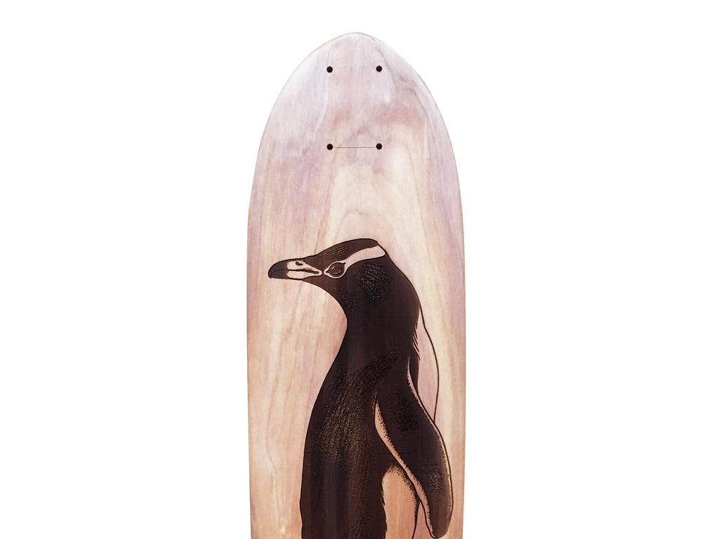 Upper half of 'Yellow-Eyed Penguin' designed by Ricardo Rios, laser etched onto a macrocarpa art board crafted in-house at The Paper Rain Project.