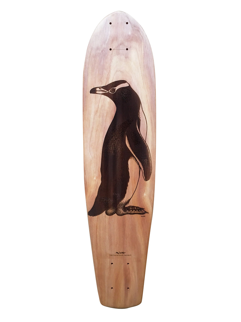'Yellow-Eyed Penguin' designed by Ricardo Rios, laser etched onto a macrocarpa art board crafted in-house at The Paper Rain Project.