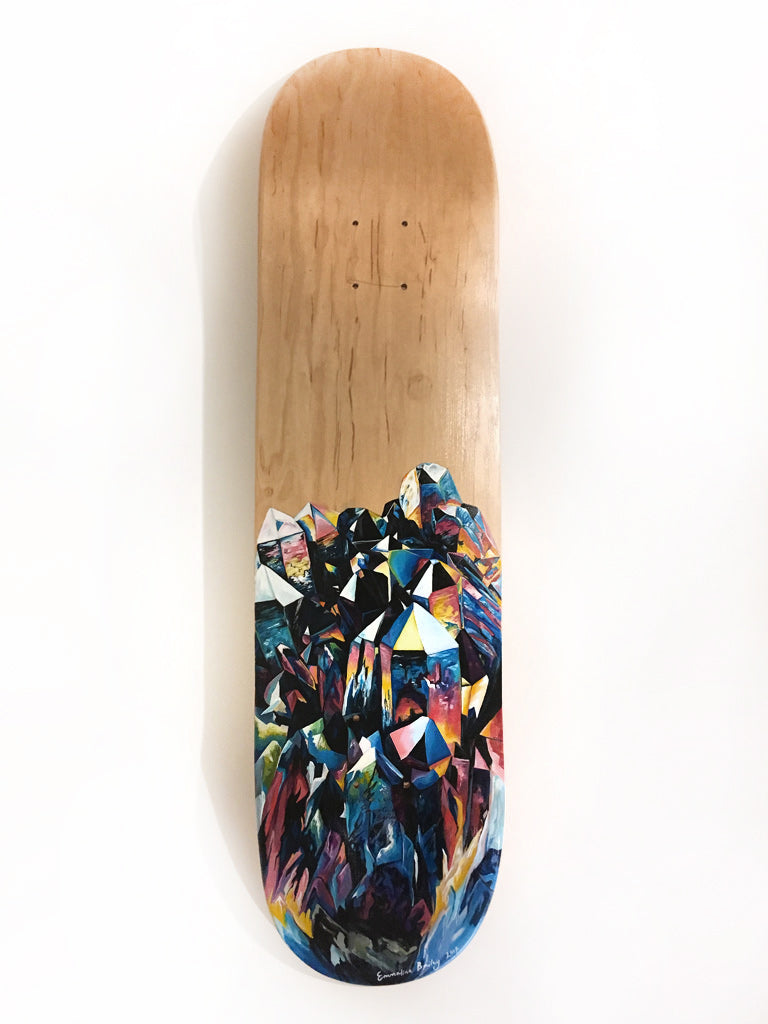Aura by Emmaline Bailey, acrylic on maple skateboard